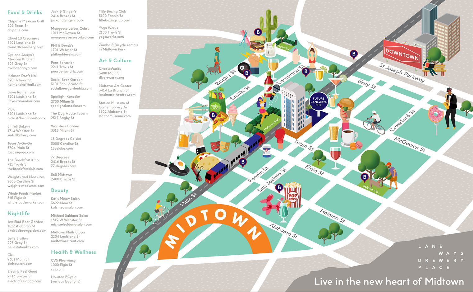 Graphic map of Midtown featuring nearby places of interest